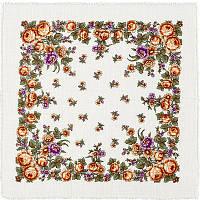 Полянка 650-3, павлопосадский платок шерстяной  с осыпкой (оверлоком)