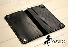 Чоловіче портмоне з натуральної шкіри Cavallo™ crazy horse classic, шкіряний кошельк чорний