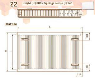Радиатор стальной DELONGHI Compact Panel 22 TEK 600 x 500 мм боковой 181546115, фото 2