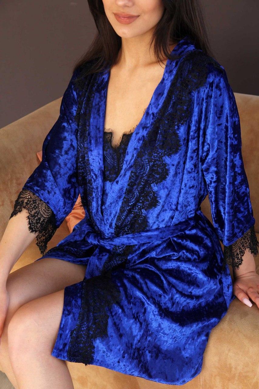 Халат жіночий з мармурового велюру кольору електрик