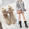 Зимние сапоги женские угги на шнуровке и меху