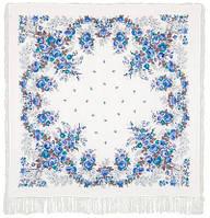 Первое свидание 1384-4, павлопосадский платок (шаль, крепдешин) шелковый с шелковой бахромой
