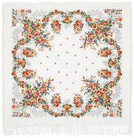 Первое свидание 1384-2, павлопосадский платок (шаль, крепдешин) шелковый с шелковой бахромой