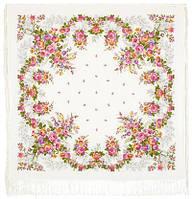 Первое свидание 1384-1, павлопосадский платок (шаль, крепдешин) шелковый с шелковой бахромой, фото 1