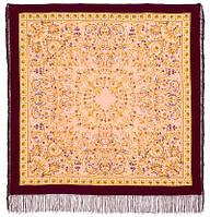 Песня ветра 1337-7, павлопосадский платок (шаль, крепдешин) шелковый с шелковой бахромой, фото 1