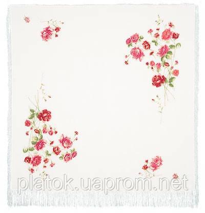Розы на снегу 1227-2, павлопосадский платок (шаль, крепдешин) шелковый с шелковой бахромой