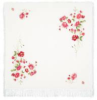 Розы на снегу 1227-2, павлопосадский платок (шаль, крепдешин) шелковый с шелковой бахромой, фото 1