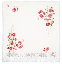 Троянди на снігу 1227-2, павлопосадский хустку (шаль, крепдешин) шовковий з шовковою бахромою