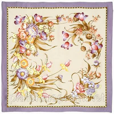 Мерцание 605-0, павлопосадский платок (атлас) шелковый с подрубкой
