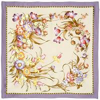 Мерцание 605-0, павлопосадский платок (атлас) шелковый с подрубкой, фото 1