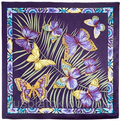 Фиджи 1137-15, павлопосадский платок (атлас) шелковый с подрубкой