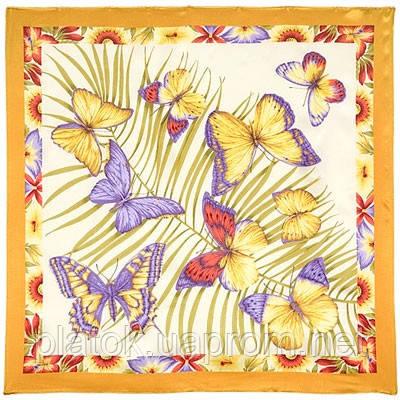 Фиджи 1137-1, павлопосадский платок (атлас) шелковый с подрубкой