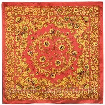 Хохломские узоры 1499-3, павлопосадский платок (атлас) шелковый с подрубкой
