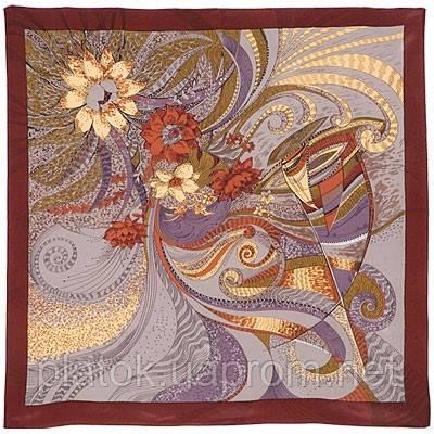 Мой сон 885-7, павлопосадский платок (крепдешин) шелковый с подрубкой