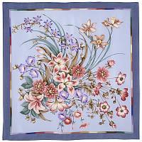 Чистые росы 661-13, павлопосадский платок (крепдешин) шелковый с подрубкой