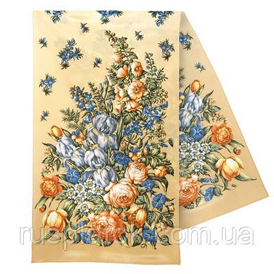Ніжний дотик 1398-1, павлопосадский шовковий шарф крепдешиновый з подрубкой