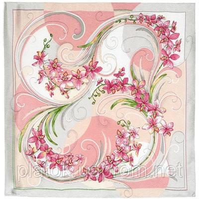 Танцующие орхидеи 1444-1, павлопосадский платок (жаккард) шелковый с подрубкой