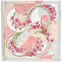 Танцующие орхидеи 1444-1, павлопосадский платок (жаккард) шелковый с подрубкой, фото 1