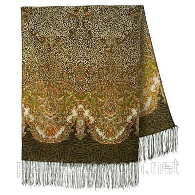 Сандаловые острова 1274-10, павлопосадский шарф шерстяной  с шелковой бахромой