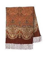 Сандаловые острова 1274-17, павлопосадский шарф шерстяной  с шелковой бахромой