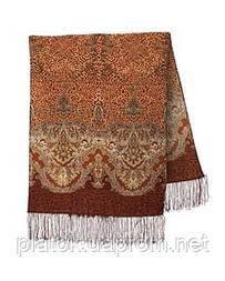 Сандалові острова 1274-17, павлопосадский вовняний шарф з шовковою бахромою