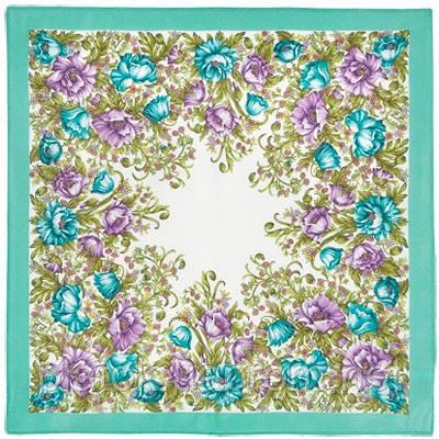 Цветущие маки 1485-2, павлопосадский шейный платок (крепдешин) шелковый с подрубкой