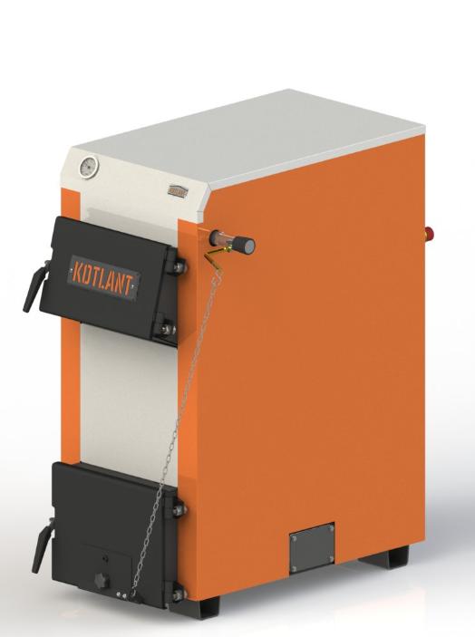 Твердотопливный котел с наклонной загрузкой Kotlant КН-24 кВт с механическим регулятором тяги