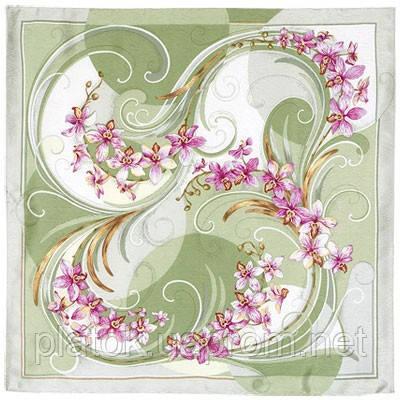 Танцующие орхидеи 1444-4, павлопосадский платок (жаккард) шелковый с подрубкой