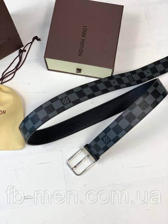 Ремень Louis Vuitton серого цвета классическая пряжка серебро |Кожаный мужской ремень Луи Виттон серый|Пояс ЛВ