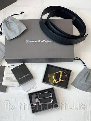 Ремень Ermenegildo Zegna с двумя сменными пряжками в золотом и серебряном цвета | Пояс мужской Зегна