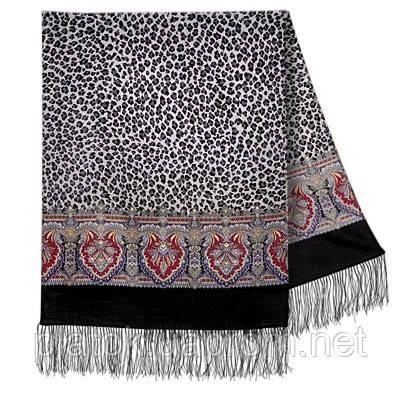 Леопардовые сны 1295-18, павлопосадский шарф шерстяной  с шелковой бахромой