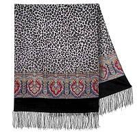 Леопардовые сны 1295-18, павлопосадский шарф шерстяной  с шелковой бахромой, фото 1