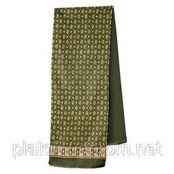Эдельвейс 937-10, павлопосадский шарф (кашне) шерсть -шелк (атлас) двусторонний мужской с осыпкой