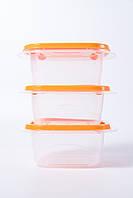 """Набір контейнерів """"Омега"""" квадратний 1л 3шт (проз./світло-оранжевий)"""