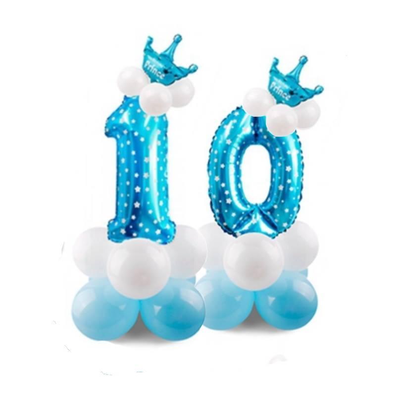 Цифра 10 з повітряних куль на День Народження для хлопчика + 12 куль + корона. Висота цифри 1 метр