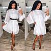 Жіноче плаття,тканина шифон горох+підклад софт, з довгим рукавом(універсальний)
