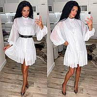 Жіноче плаття,тканина шифон горох+підклад софт, з довгим рукавом(універсальний), фото 1