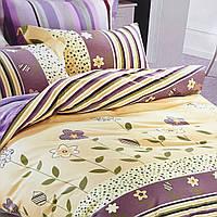 """Постельное белье нежного цвета """"Полоска"""" евро размер ELWAY (Польша), 200/220 см, ткань сатин (100% хлопок)."""