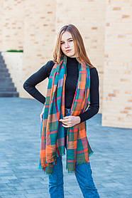 Большой бирюзовый шарф из хлопка в клетку 190*80