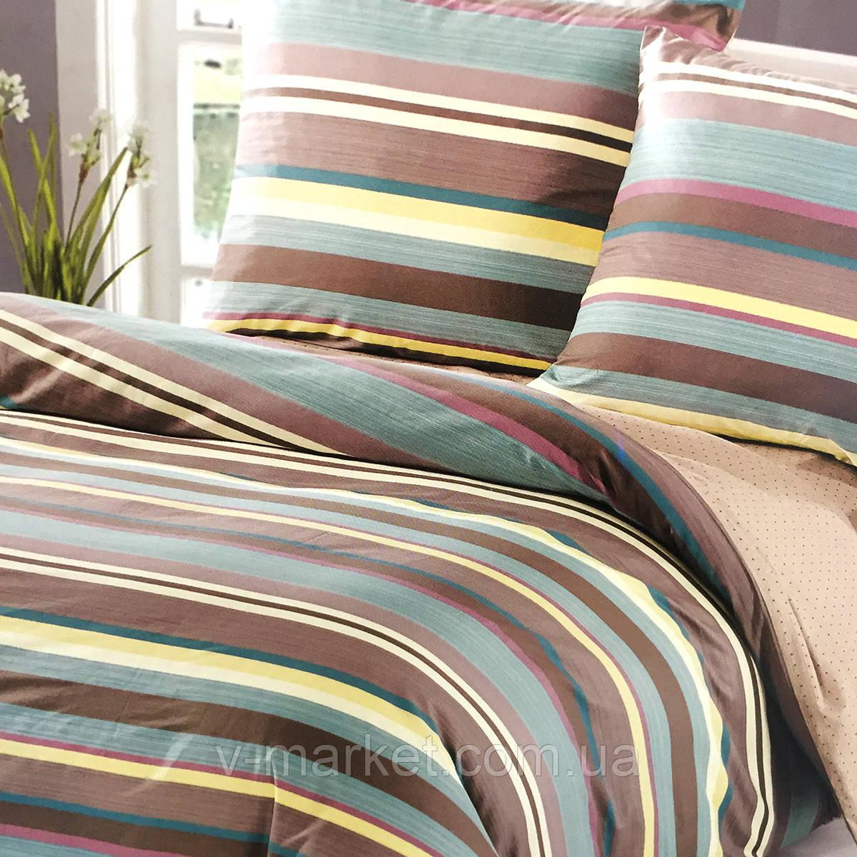 """Постельное белье """"Полоска"""" евро размер ELWAY (Польша), 200/220 см, ткань сатин (100% хлопок)."""