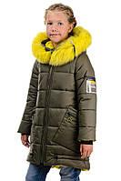 Зимняя курточка для девочки Канарейка Хаки - Детская куртка цвета хаки от 7 до 12 лет - Верхняя одежда детская