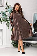 Женское вечернее платье из люрекса с вышивкой, больших размеров 48-62