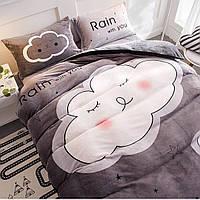Комплект постельного белья махра, Евро размер,Облака,Цвет серый