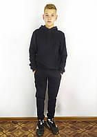 Теплая зимняя толстовка черного цвета с капюшоном на флисе S, M, L, XL, XXL