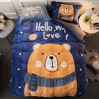 Комплект постельного белья махра, Евро размер,Медведи,Цвет синий
