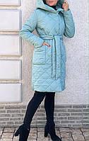 Куртка-пальто, демисизонное, стьобаний М'ятний
