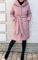 Куртка-пальто, демисизонное, стьобаний Пудра