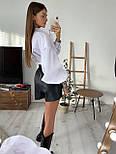 Жіноча біла бавовняна сорочка з рукавами - ліхтариками в розмірах (42, 44) 8313420, фото 2