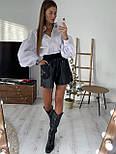 Жіноча біла бавовняна сорочка з рукавами - ліхтариками в розмірах (42, 44) 8313420, фото 3