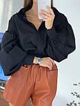 Жіноча біла бавовняна сорочка з рукавами - ліхтариками в розмірах (42, 44) 8313420, фото 4